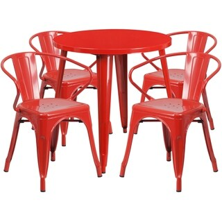 30 Round Metal Indoor-Outdoor Table Set with 4 Arm Chairs (Red)