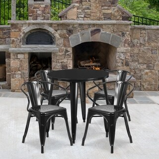 30-inch Round Metal Indoor-Outdoor Table Set with 4 Arm Chairs
