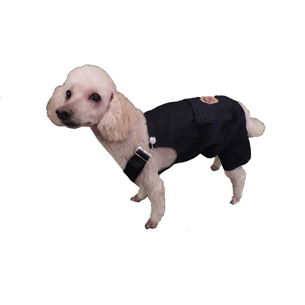 L&C Puppy-ro Puppy Dog Denim Overalls (Small), Blue, Size S
