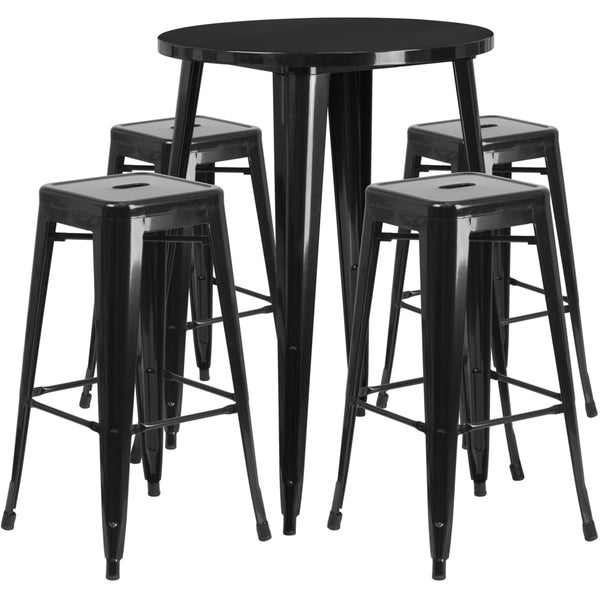 30-inch Round Metal Indoor-Outdoor Bar Table Set with 4 Square Seat Backless Barstools