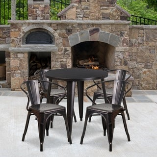 30-inch Round Black-Antique Gold Metal Indoor-Outdoor Table Set with 4 Arm Chairs