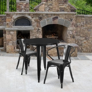 30-inch Round Metal Indoor-Outdoor Table Set with 2 Arm Chairs