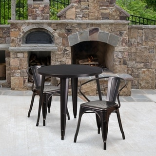 30-inch Round Black-Antique Gold Metal Indoor-Outdoor Table Set with 2 Arm Chairs