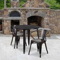 30'' Round Metal Indoor-Outdoor Table Set with 2 Arm Chairs