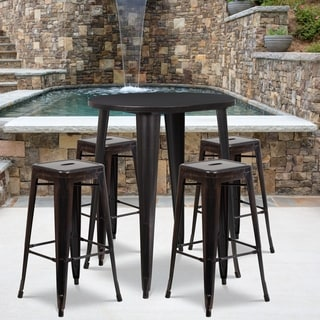 30-inch Round Black-Antique Gold Metal Indoor-Outdoor Bar Table Set with 4 Square Seat Backless Barstools