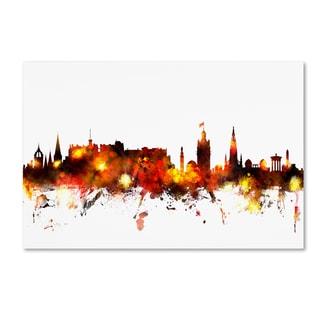 Michael Tompsett 'Edinburgh Scotland Skyline Red' Canvas Art