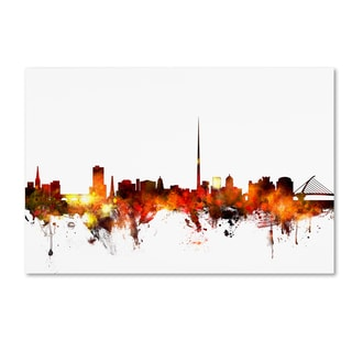 Michael Tompsett 'Dublin Ireland Skyline Red' Canvas Art