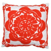 Red and White Damask Pattern 18-inch x 18-inch Embroidered Pillow