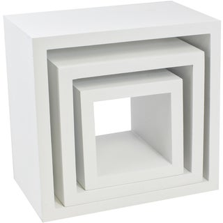Matte White Plastic Square Decor Shelves (Pack of 3)
