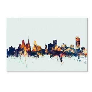 Michael Tompsett 'Buffalo New York Skyline Blue' Canvas Art