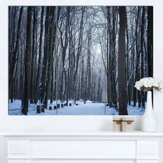 Designart 'Thick Woods in Winter Forest' Modern Forest Canvas Art