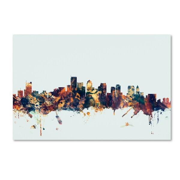 Michael Tompsett 'Boston MA Skyline Blue' Canvas Art