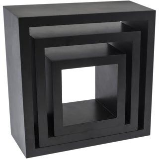 Black Plastic Matte Square Decor Shelves (Pack of 3)
