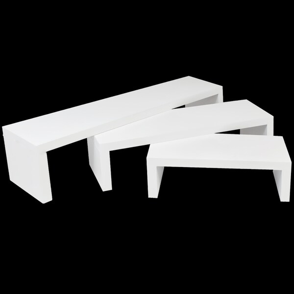 Matte White Plastic Floating Decor Shelves (Set of 3)