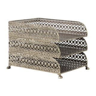Urban Trends Collection Champagne Metal Rectangular 3-tier Office Organizer