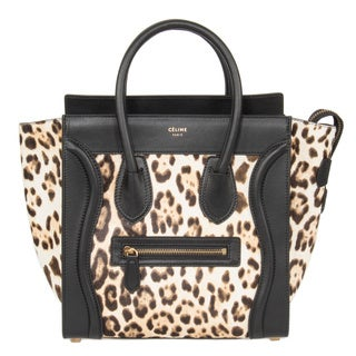 Celine Micro Luggage Leopard and Black Tote Bag