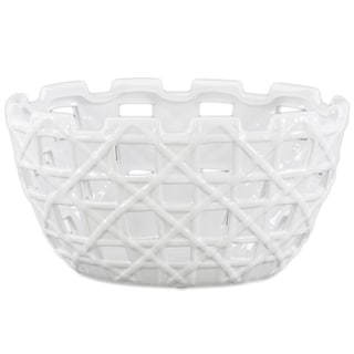 Urban Trends Collection White Ceramic Round Pot with Square Cutout Design