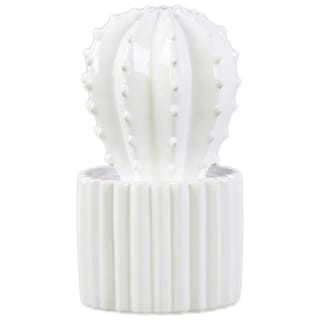Urban Trends Collection White Ceramic Star Cactus Figurine on Ribbed Pot