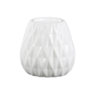 Urban Trends Collection Gloss White Finish Ceramic Round Candleholder with Embossed Diamond Design