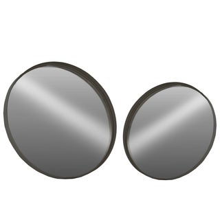 Urban Trends Collection Coated Black Finish Metal Round Wall Mirrors LG (Set of 2)