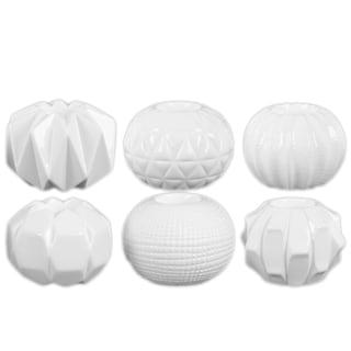 Ceramic Gloss Finish White Round Tealight Candle Holders (Set of 6)