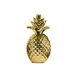 Urband Trends Collection Gold Ceramic Chrome-finished Pineapple Figurine