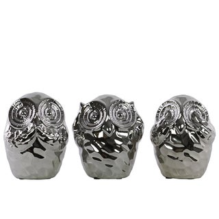 Urban Trends Collection Chrome Ceramic Owl No Evil (Hear/See/Speak) Figurine (Pack of 3)