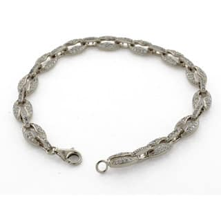 """Suzy Levian Pave Cubic Zirconia Sterling Silver White Gucci Link 7"""" Bracelet