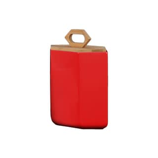 Stoneware Red LG Gloss Finish Hexagonal Canister with Bamboo Lid and Handle