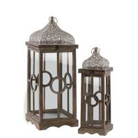 Urban Trends Collection Natural Brown Finish Wood 2-piece Square Lantern