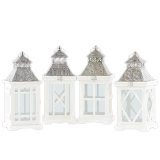 Wood Square Lantern with Silver Pierced Metal Top
