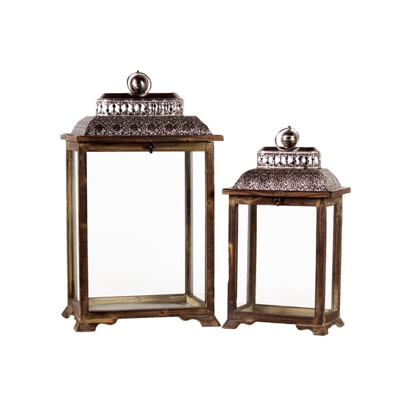 Urban Trends Collection Brown Wood Lantern (Set of 2)