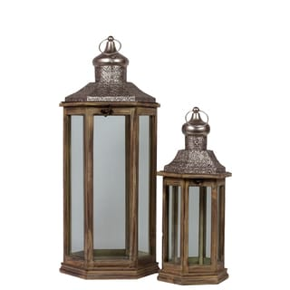 Urban Trends Collection Sienna Brown Wood/Metal Hexagonal Lantern