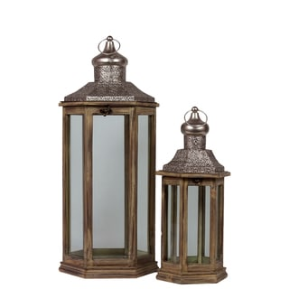 Urban Trends Collection Sienna Brown Wood/Metal Hexagonal Lantern