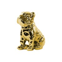 Urban Trends Collection Gold Finish Polished Chrome Ceramic Sitting British Bulldog Figurine