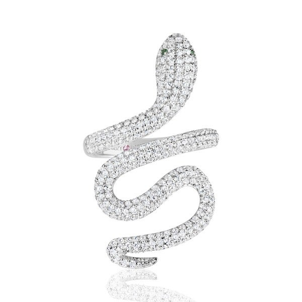 a6ca367d8a Shop Suzy Levian Sterling Silver Cubic Zirconia Wild Snake Ring ...
