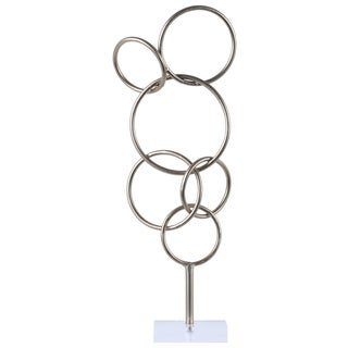 Urban Trends Collection Metallic Silver Metal Cascading Interlooping Circles Sculpture on Square Acrylic Base