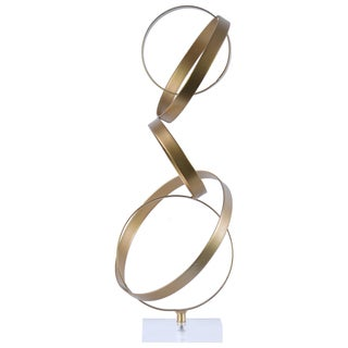 Urban Trends Collection Metallic Gold Metal Cascading Interlooping Hoops Sculpture on Square Acrylic Base