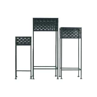Urban Trends Collection Black Metal Square Plant Stand (Pack of 3)