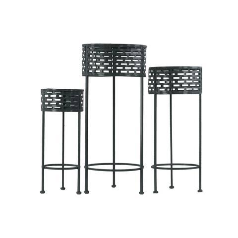 Urban Trends Collection 3-coat Black Finish Pierced Metal Round 3-leg 3-piece Plant Stand Set