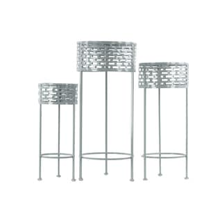 Urban Trends Collection Grey Metal Round Plant Stand (Pack of 3)