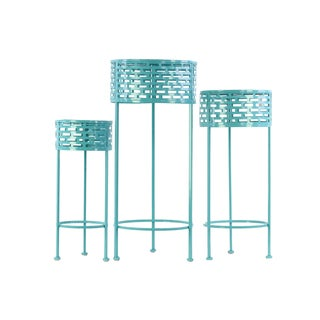 Urban Trends Collection Blue Metal Round Slotted Plant Stand (Pack of 3)