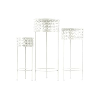 Urban Trends Collection Coated Finish White Metal Round Plant Stand with Pierced Metal Design and 3 Legs (Pack of 3)