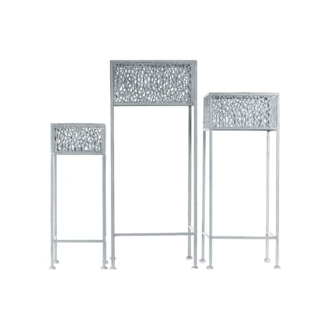 Urban Trends Collection Grey Metal Square Plant Stand with Pierced Metal Design (Pack of 3)