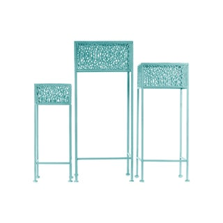 Urban Trends Collection Blue Metal Square Plant Stand (Pack of 3)