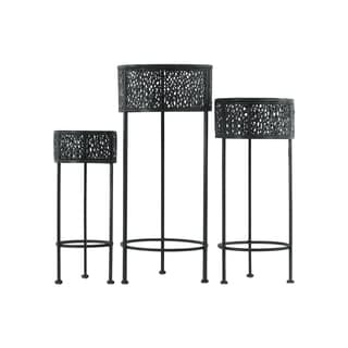 Urban Trends Collection Pierced Black Metal Round 3-leg Plant Stands (Pack of 3)