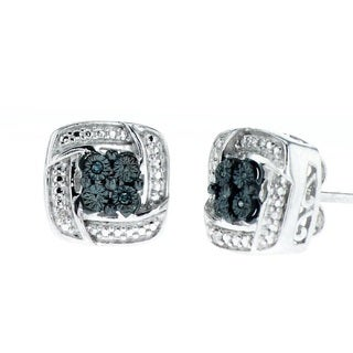 Sterling Silver Marcasite and Diamond Accents Stud Earrings