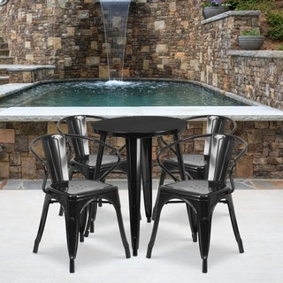 24-inch Round Metal Indoor-Outdoor Table Set with 4 Arm Chairs