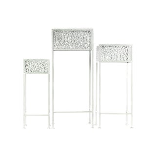 Urban Trends Collection White Metal Square Plant Stands (Pack of 3)