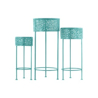 Urban Trends Collection 3-coat Blue Finish Pierced Metal 3-piece 3-leg Round Plant Stand Set